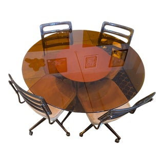 Chromcraft Amber Glass Dining Table W/ Smokey Lucite Ladderback Chairs For Sale