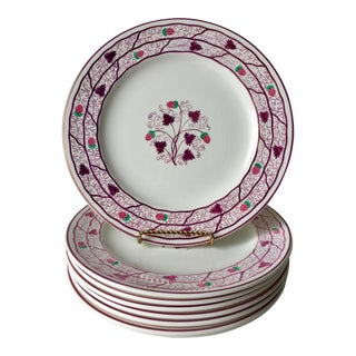 1880's Wedgwood Strawberry Lustre Luncheon Plates-Set 8 For Sale