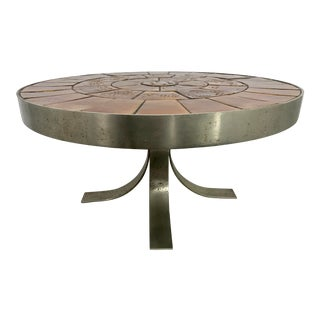 Mid Century French Steel and Ceramic Coffee Table For Sale