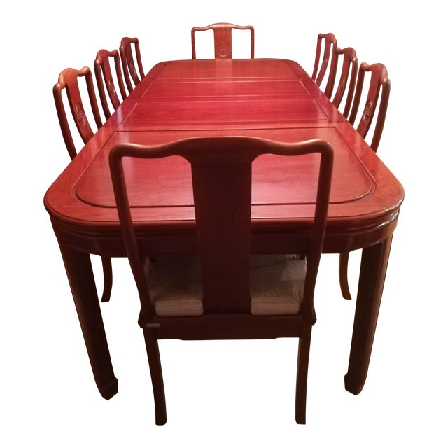 1980s Asian Cherry Rosewood Dining Set - 9 Pieces For Sale