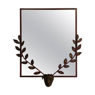 Giacometti Style Mid-Century Steel Mirror For Sale