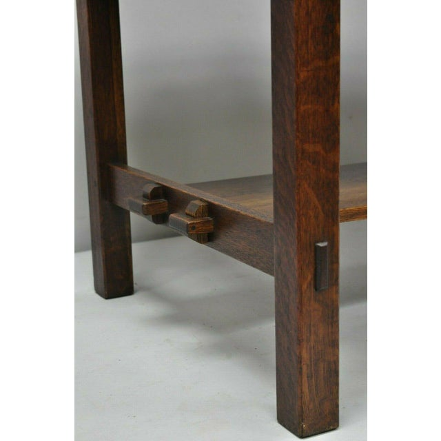 Mission 1900s Arts and Crafts L & Jg Stickley Library Table/Writing Desk For Sale - Image 3 of 12
