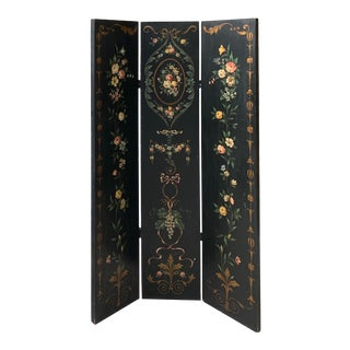 Vintage French Hand-Painted Black Floral Wood Screen For Sale