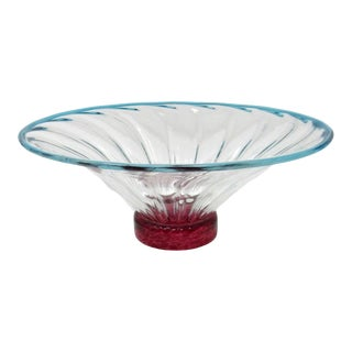 1980s Young & Constantin Fluted Studio Art Glass Bowl For Sale