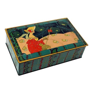 1910s Art Nouveau Teal Tin Box With Parasol Lady For Sale