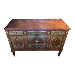 19th Century French Bronze Mounted Commode W/ Rouge Marble Top For Sale