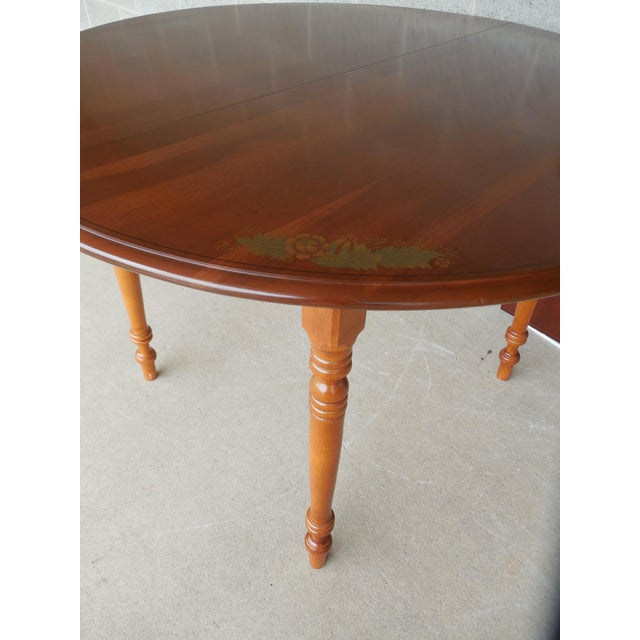 L. Hitchcock Cherry Harvest Stenciled Dining Extension Table - Image 7 of 10