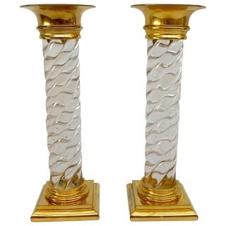 Early Glass and Ormolu Candlesticks For Sale