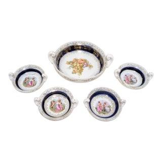 Antique Porcelain Cobalt Blue Nut Bowls - Set of 5 For Sale