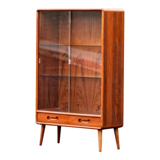 Danish Modern Teak Bookshelf Display Cabinet For Sale