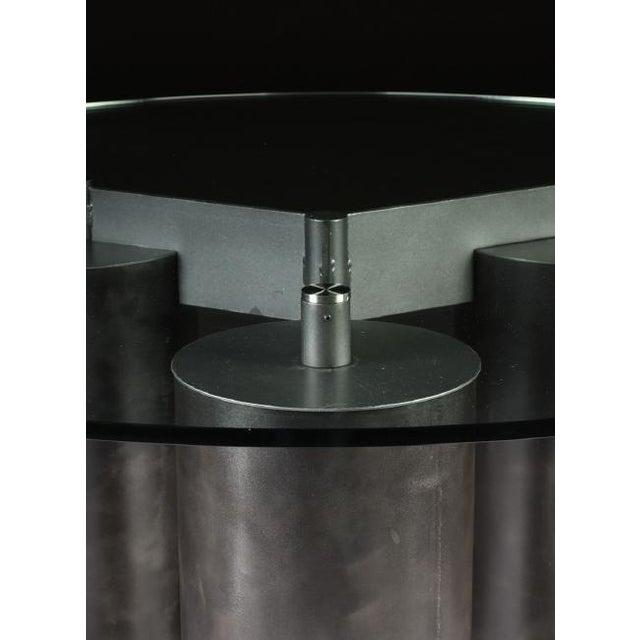 "Massimo and Lella Vignelli ""Serenissimo"" Patinated Steel Dining Table by Massimo and Lella Vignelli For Sale - Image 4 of 5"