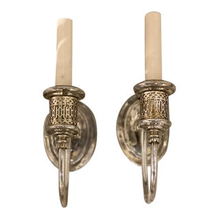 Caldwell Silver Plated One Light Sconces - a Pair For Sale