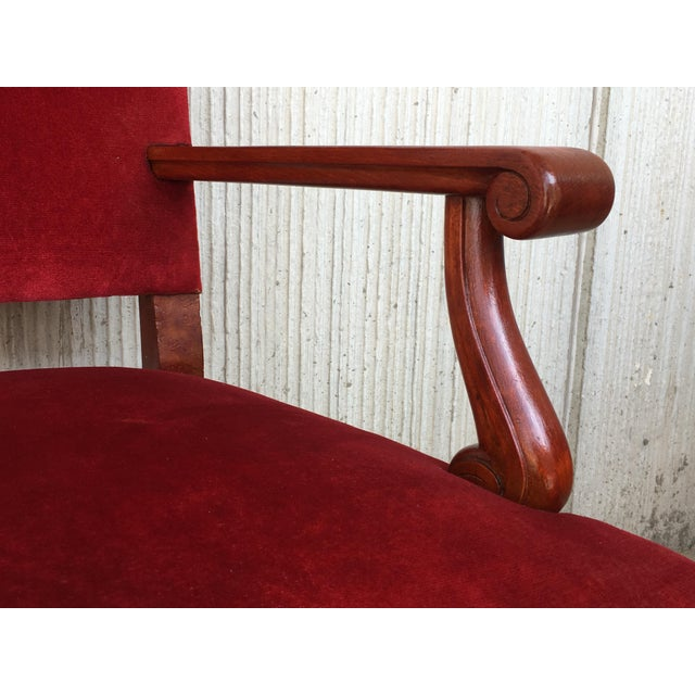 Textile 19th Century Spanish Revival High Back Armchair With Red Velvet Upholstery For Sale - Image 7 of 13