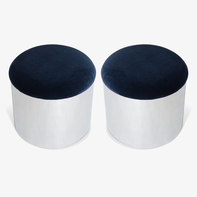 "Brueton Chrome ""Mushroom"" Pouf in Navy Velvey For Sale - Image 4 of 5"