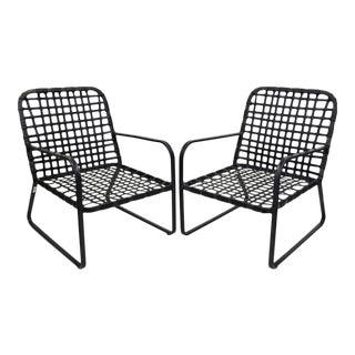 Pair of Brown Jordan Lido Aluminum Vinyl Strap Patio Pool Lounge Chairs Black A