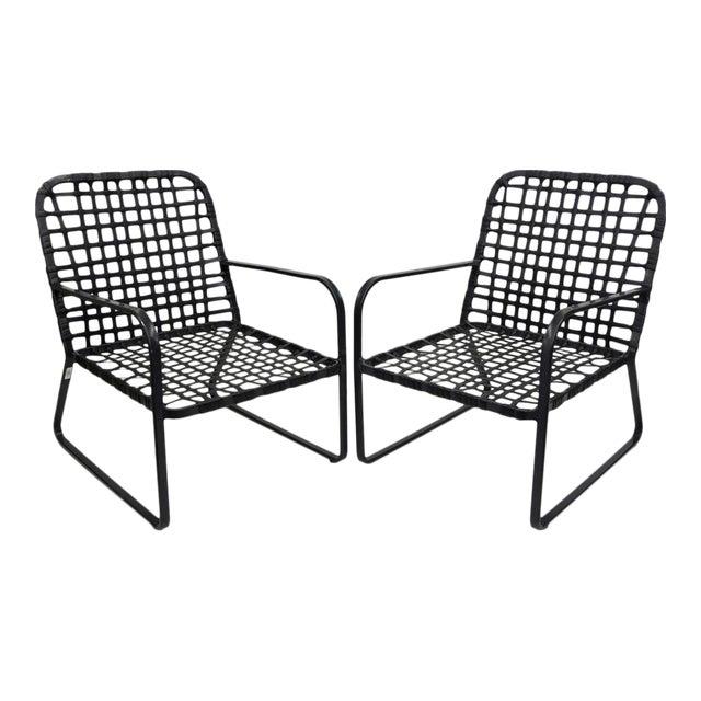 Pair of Brown Jordan Lido Aluminum Vinyl Strap Patio Pool Lounge Chairs Black A - Image 1 of 11