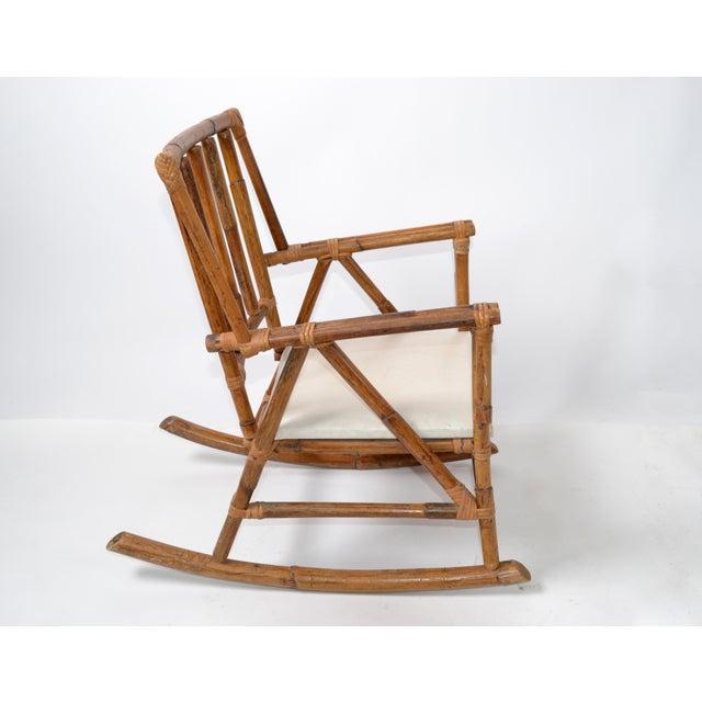 Mid-Century Modern Mid-Century Modern Boho Style Bamboo & Vinyl Children Rocking Chair For Sale - Image 3 of 13