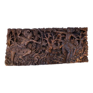 Vintage Southeast Asian Carved 25x11 High Relief Wall Mounted Sculpture 2 Dieties For Sale