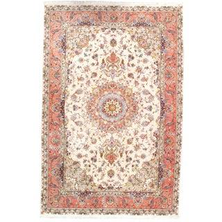 "Pasargad Persian Tabriz Silk & Korker Wool Rug - 6'6"" X 9'9"" For Sale"