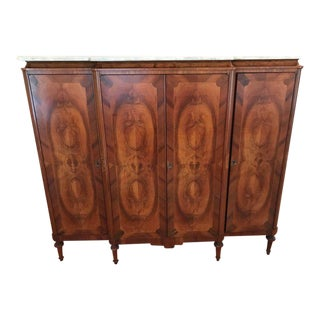 Antique French Art Deco Crotch Mahogany Freres Credenza Sideboard Cabinet For Sale