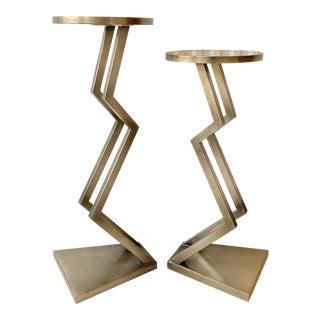 Postmodern Pair of Zig Zag Pedestal Tables For Sale