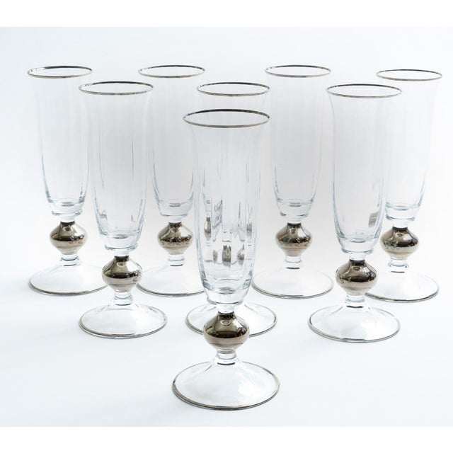 Art Deco Barware Crystal Champagne Flute Set Eight Pieces For Sale - Image 11 of 12