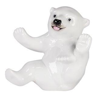 Late 20th Century German Kpm Porcelain Polar Bear For Sale