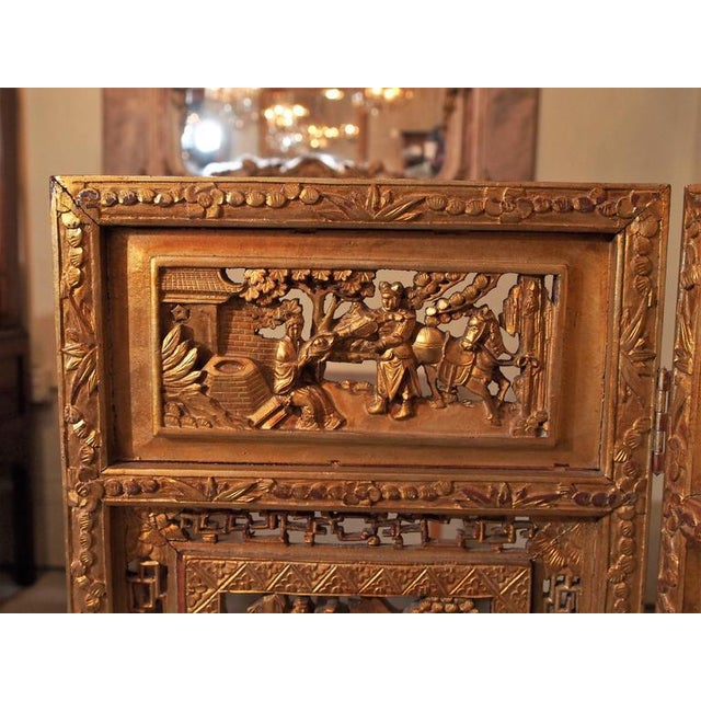 Asian Antique Chinese Four-Panel Screen For Sale - Image 3 of 10