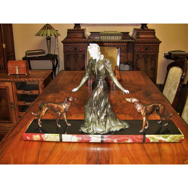 Large Art Deco Sculpture of Bronze Lady With Dogs on Marble Base - Impressive and Important For Sale In Dallas - Image 6 of 11