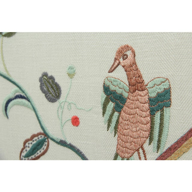 A framed fabric panel of Lee Jofa for Kravet's Margot Sky, an embroidered linen blend. Depicts a botanical scene with...