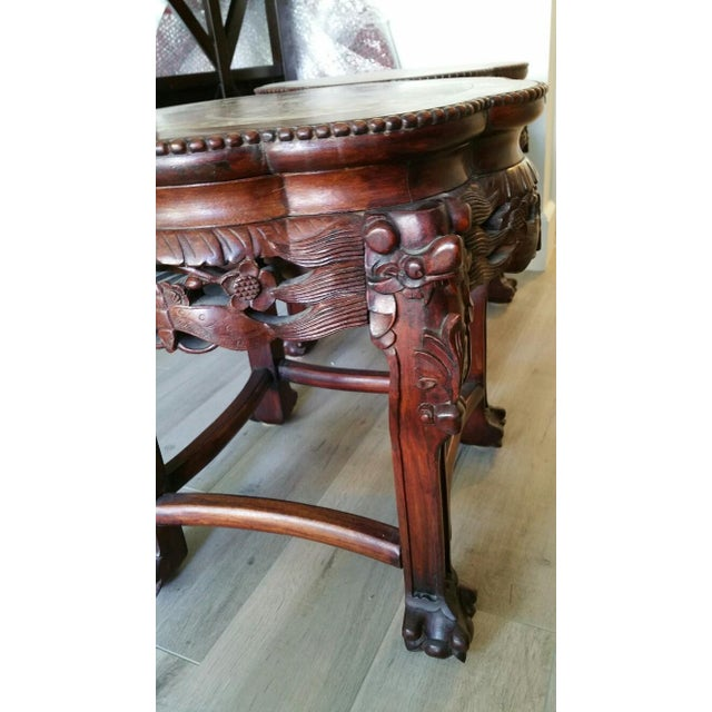 Wood & Marble Hand-carved End Tables - Pair - Image 6 of 6