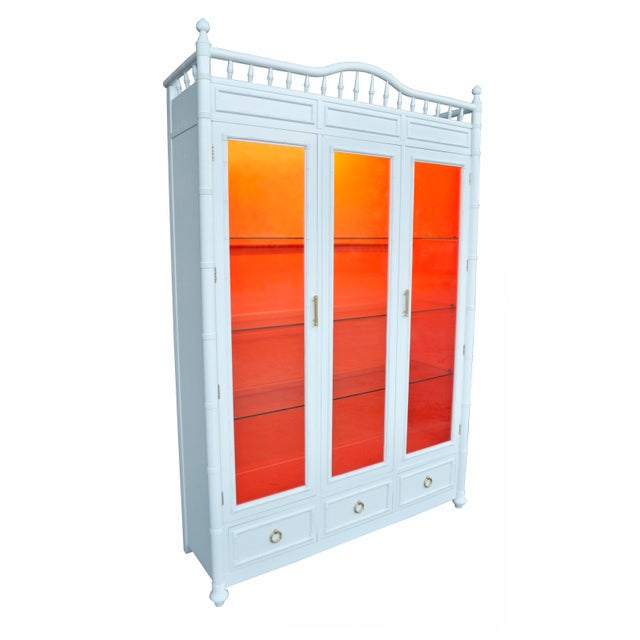 White and Orange Faux Bamboo China Cabinet - Image 3 of 6