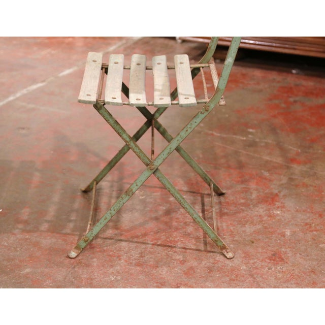 Metal Set of Four 1920s French Iron and Wood Painted Folding Garden Chairs For Sale - Image 7 of 13