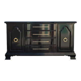 Lexington Sideboard High Gloss Black and Gold Credenza For Sale