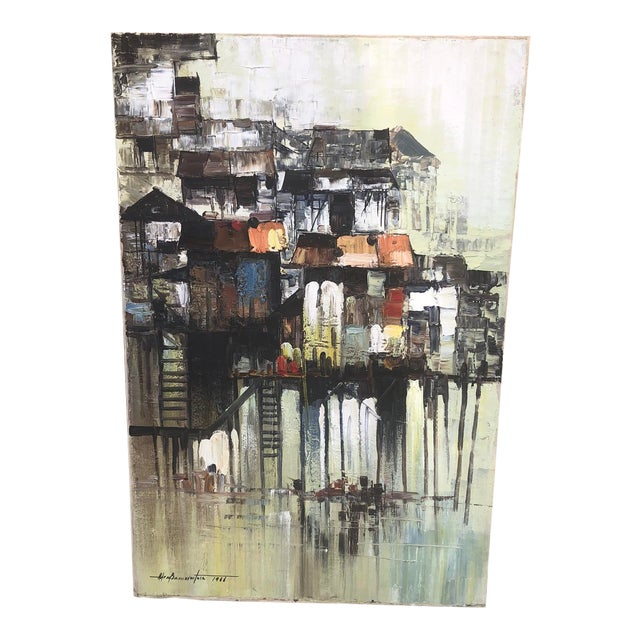 """1966 """"Houses on Stilts"""" Oil Painting For Sale"""