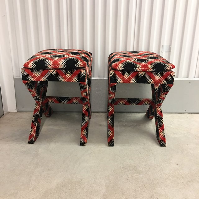 Velvet Plaid X Bench Stools- a Pair For Sale - Image 4 of 7