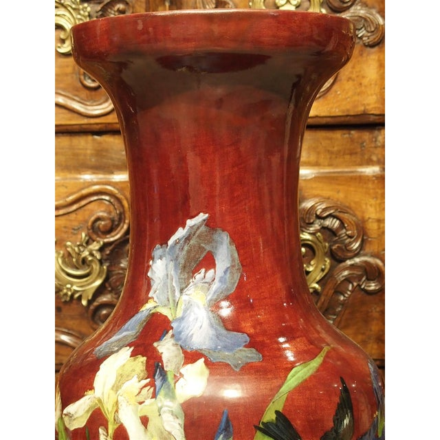 Grand Antique French Barbotine Vase, Parisian School Late 1800s For Sale - Image 10 of 12