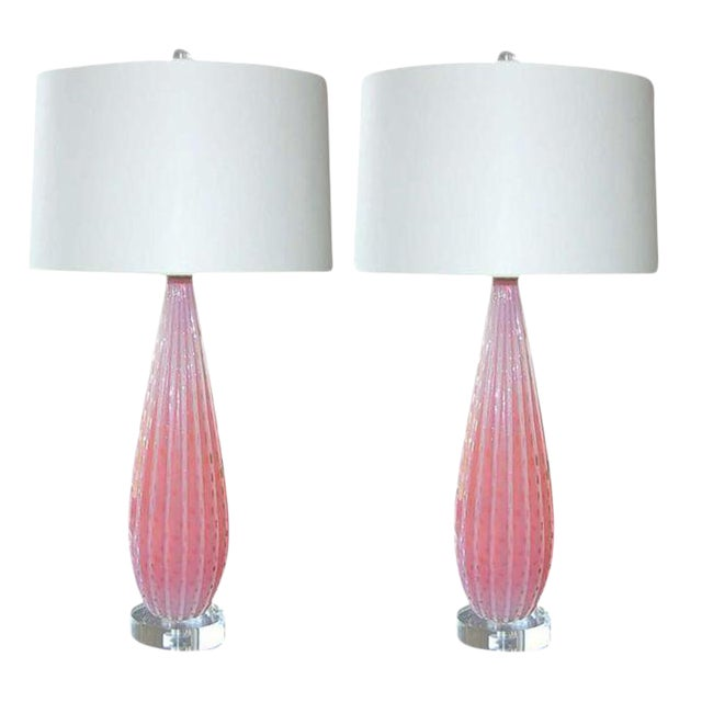 Vintage Murano Opaline Glass Table Lamps Pink- a Pair For Sale