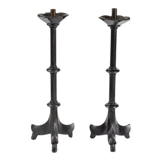 19th Century French Black Candlesticks - A Pair For Sale