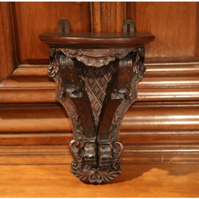 19th Century, French Louis XIV Carved Walnut and Oak Wall Bracket Console For Sale - Image 4 of 7