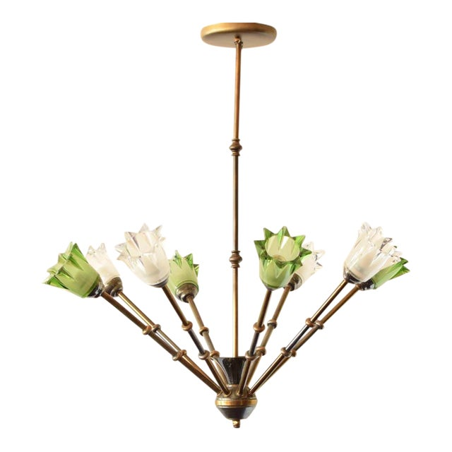 Mid 20th Century Glass and Brass Mid Century Chandelier For Sale