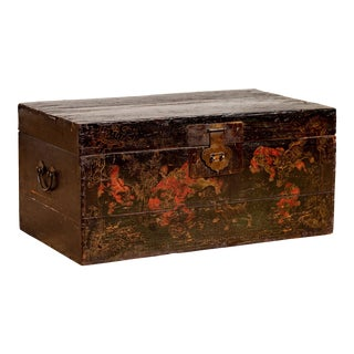 Chinese Antique Black Lacquered Blanket Chest with Hand Painted Guardian Lions For Sale