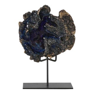 Large Molten Brass and Cobalt Glass Sculpture by Circa3230 For Sale