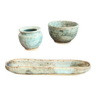 Mid Century Studio Pottery Collection-Set of 3 For Sale