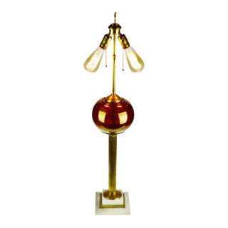 Vintage Dual Socket Iridescent Ruby Red Glass Globe Table Lamp For Sale