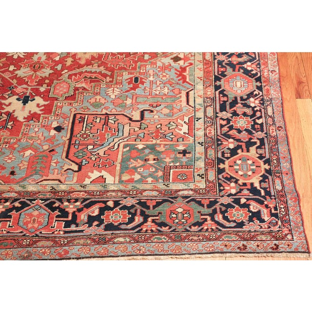 Blue Room Size Antique Persian Heriz Geometric Rug - 11′ × 14′5″ For Sale - Image 8 of 13