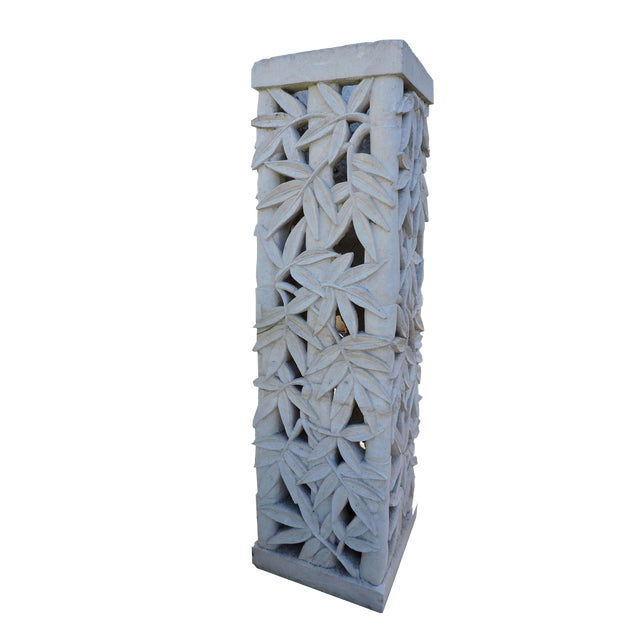 Balinese Carved Stone Pedestal With Bamboo Motif For Sale