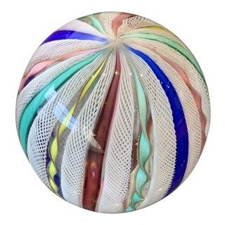 Latticino Glass Italian Paperweight For Sale