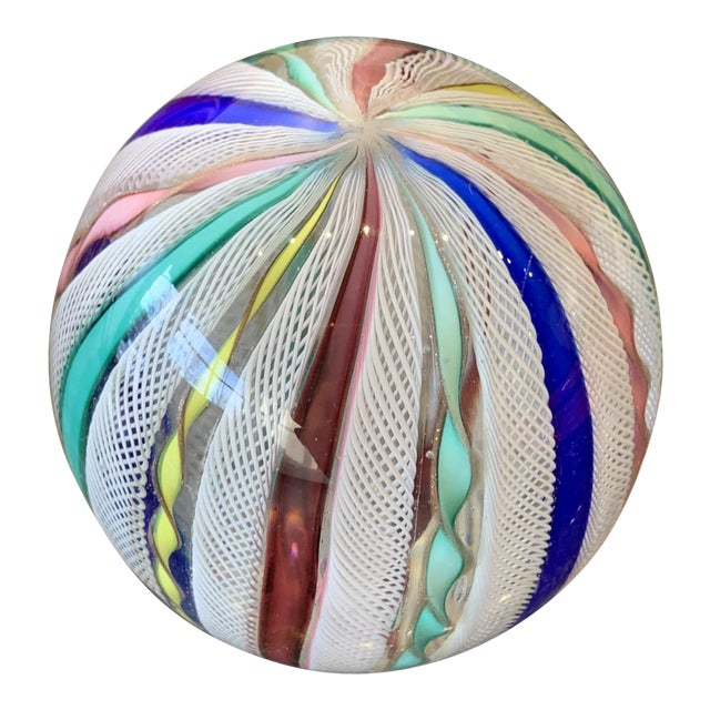 Image of Latticino Glass Italian Paperweight