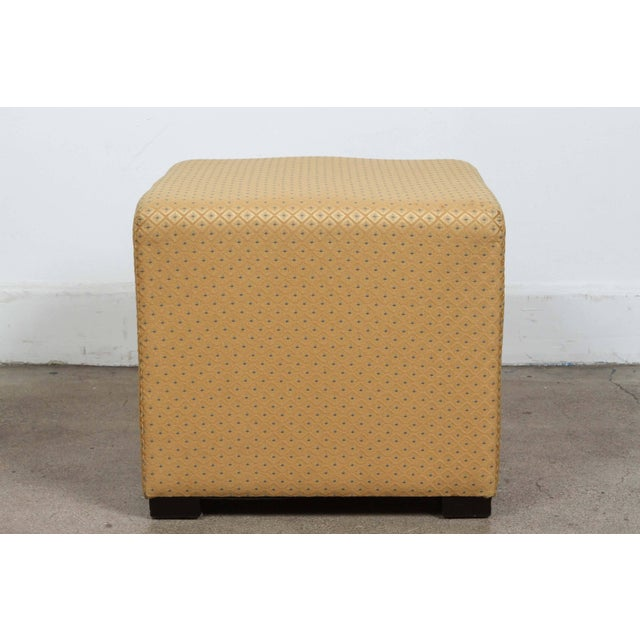 Early 21st Century Pair of Gold Cube Upholstered Moroccan Ottomans, Poufs For Sale - Image 5 of 9